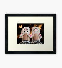 Winter Bunny Slippers Framed Print