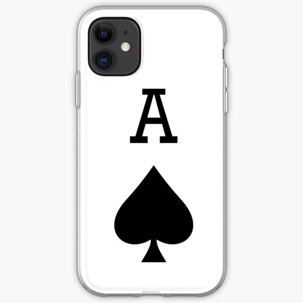 ACE. A for ACE, Ace of Spades, Black, Music, Motorbike, Hells Angels, Gang, Gamble, Cards. iPhone Soft Case