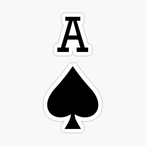ACE. A for ACE, Ace of Spades, Black, Music, Motorbike, Hells Angels, Gang, Gamble, Cards. Sticker