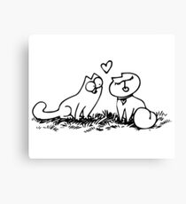 Simon's cat in love Canvas Print