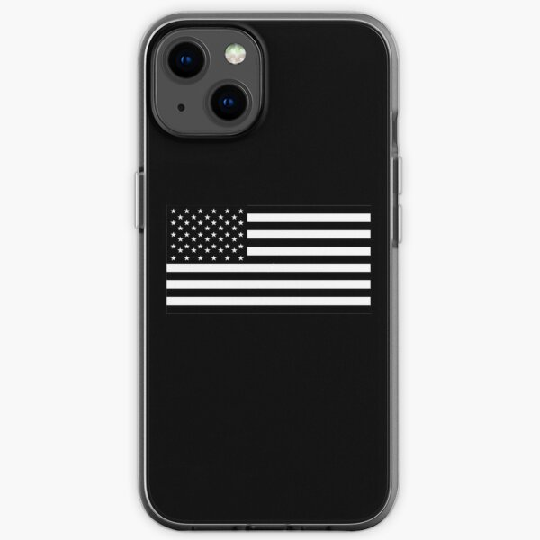 American Flag. STARS & STRIPES. USA, America, Americana, Funeral, Mourning, in Mourning, Black on Black. iPhone Soft Case