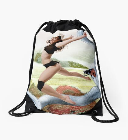 Welcome October in the Elf World Drawstring Bag