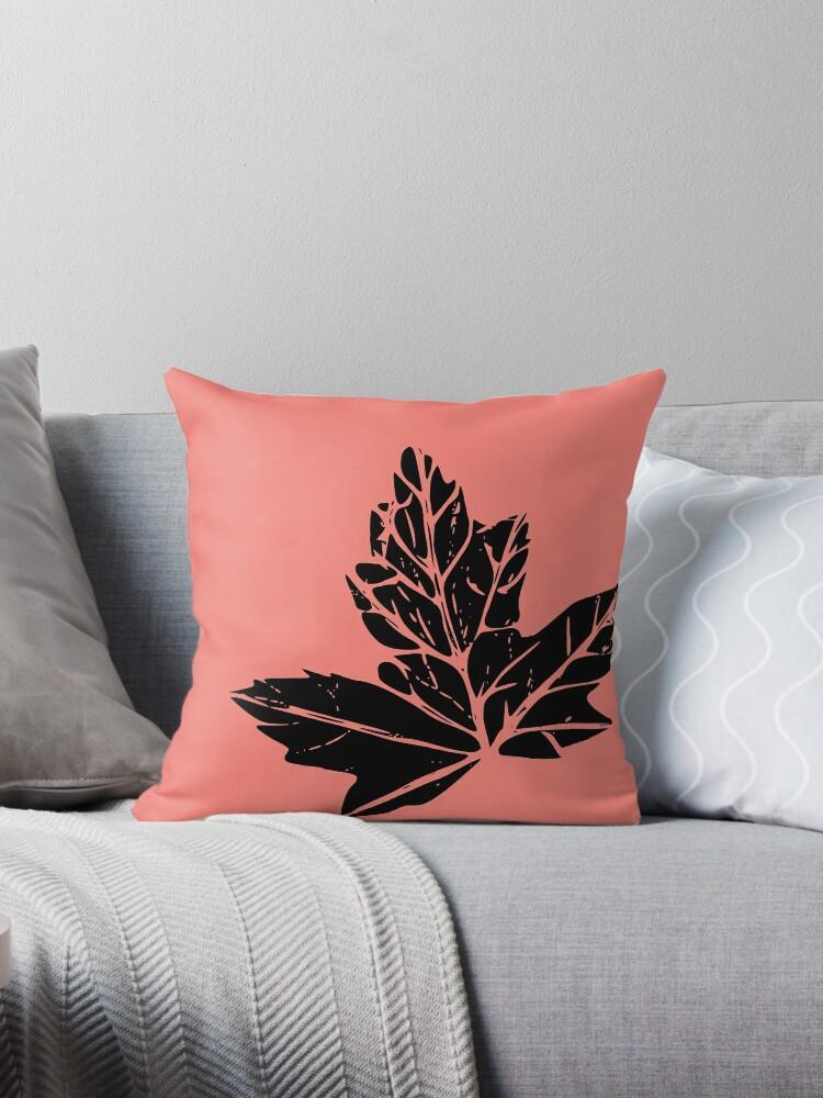 Dark Leaf on Pink Coral by D Estes