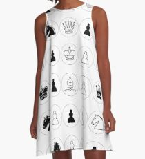 #Chess piece, #chessman, #king, #queen, #rooks, #bishops,  #knights, #pawns, #ChessPiece, #ChessBoard A-Line Dress