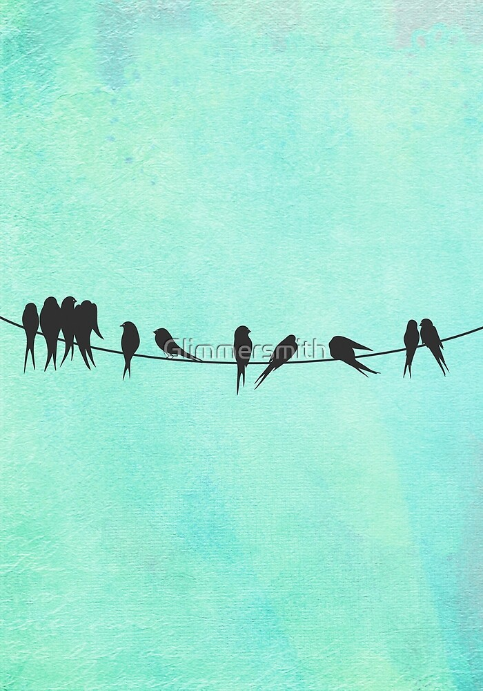 Birds on a Wire silhouette joyful illustration in mint, aqua by Glimmersmith