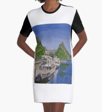 Cruise ships in Milford Sound, New Zealand Graphic T-Shirt Dress