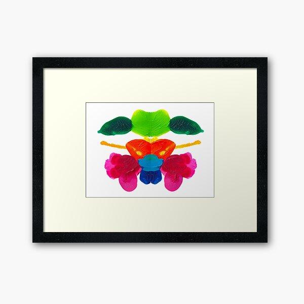 Blüten Tintenklecks Rorschach Gerahmter Kunstdruck