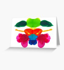 Blüten Tintenklecks Rorschach Grußkarte
