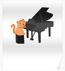Cute Cat Playing Piano Poster