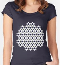 Black and White Heptagonal Tiling Women's Fitted Scoop T-Shirt