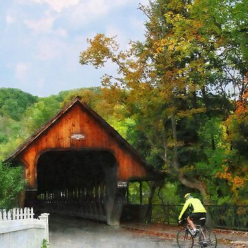 Bicyclist by Middle Bridge Woodstock VT by SudaP0408