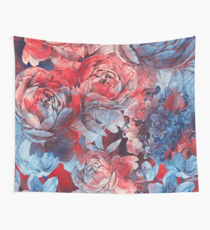 flowers red and blue pattern #flowers #pattern Wall Tapestry