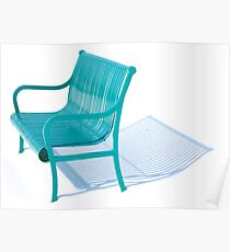 Bench - winter snow light aqua Poster
