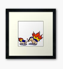 Pokemon Half-Life 2 Cyndaquil and Headcrab Playdate Framed Print
