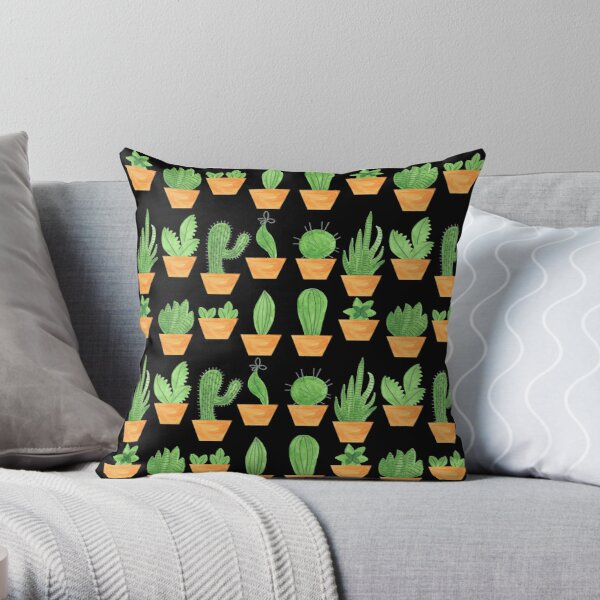 Pattern 65 - Succulents on black background Throw Pillow
