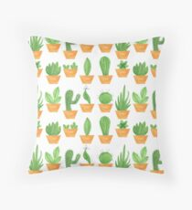 Pattern 14 - Succulents on white background Throw Pillow