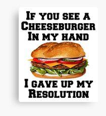 Cheeseburger In My Hand Canvas Print