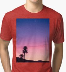 Sunrise Moon and Star over the Moroccan Desert Tri-blend T-Shirt