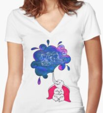 Galaxy Dumbo Women's Fitted V-Neck T-Shirt