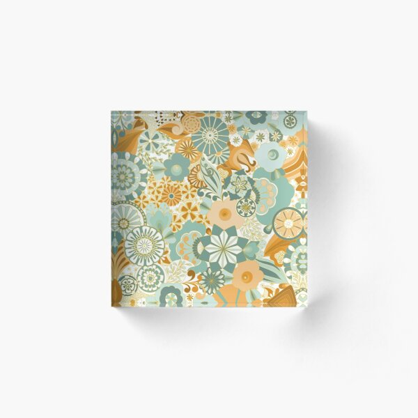 70s Style Flower Power in Green and Gold Acrylic Block