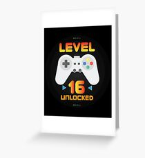 16th Birthday Gift - Level 16 Unlocked Funny Gamer Present Greeting Card