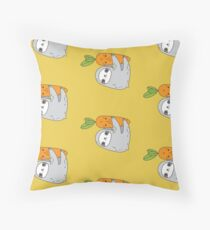 Carrot Sloth Throw Pillow