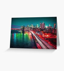 New York City Lights Red Greeting Card