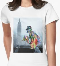 New York Photographer On Unfinished Skyscraper and Skyline Blue Women's Fitted T-Shirt