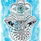 Hamsa Hand - Blue by Kristen Fagan