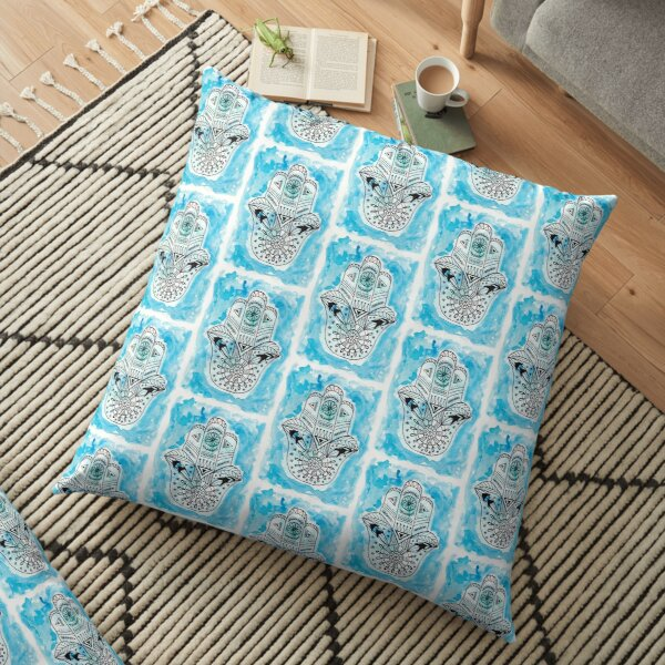 Hamsa Hand - Blue Floor Pillow