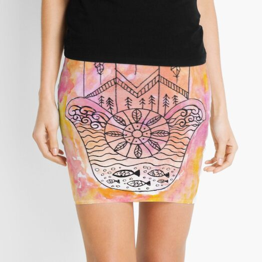 Hamsa Hand - Pink and Yellow Mini Skirt