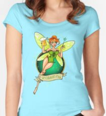Fairy with Beer Women's Fitted Scoop T-Shirt
