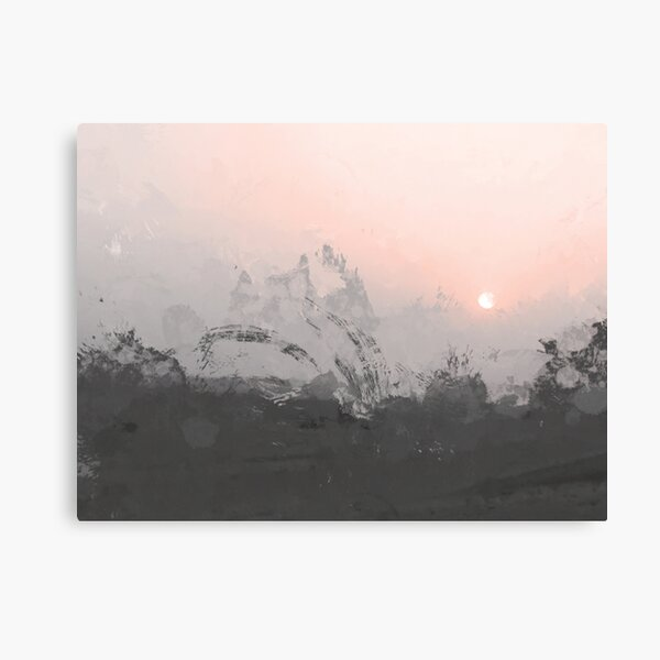 Summer Sunset | Pink and Gray Abstract Canvas Print