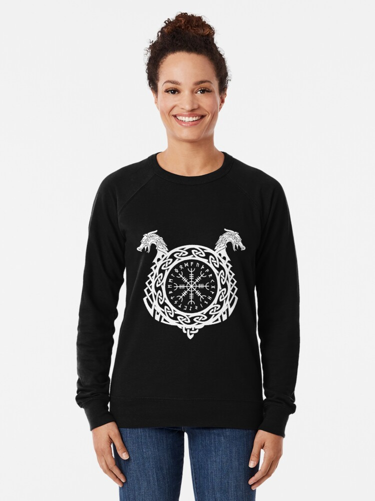 Flag of The United Kingdom Vikings Helm of Awe Rune Protection Norse Mens Polyester Pullover Hoodie Sweatshirt