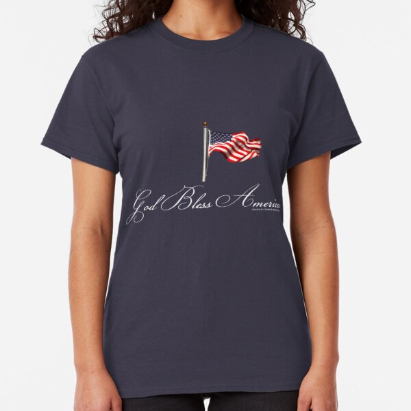 God Bless America with Flag, White Classic T-Shirt