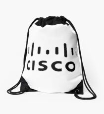 cisco logo in black Drawstring Bag
