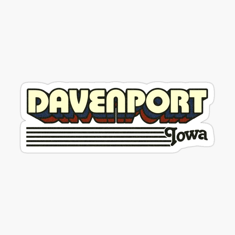 Davenport, Iowa | Retro Stripes Sticker