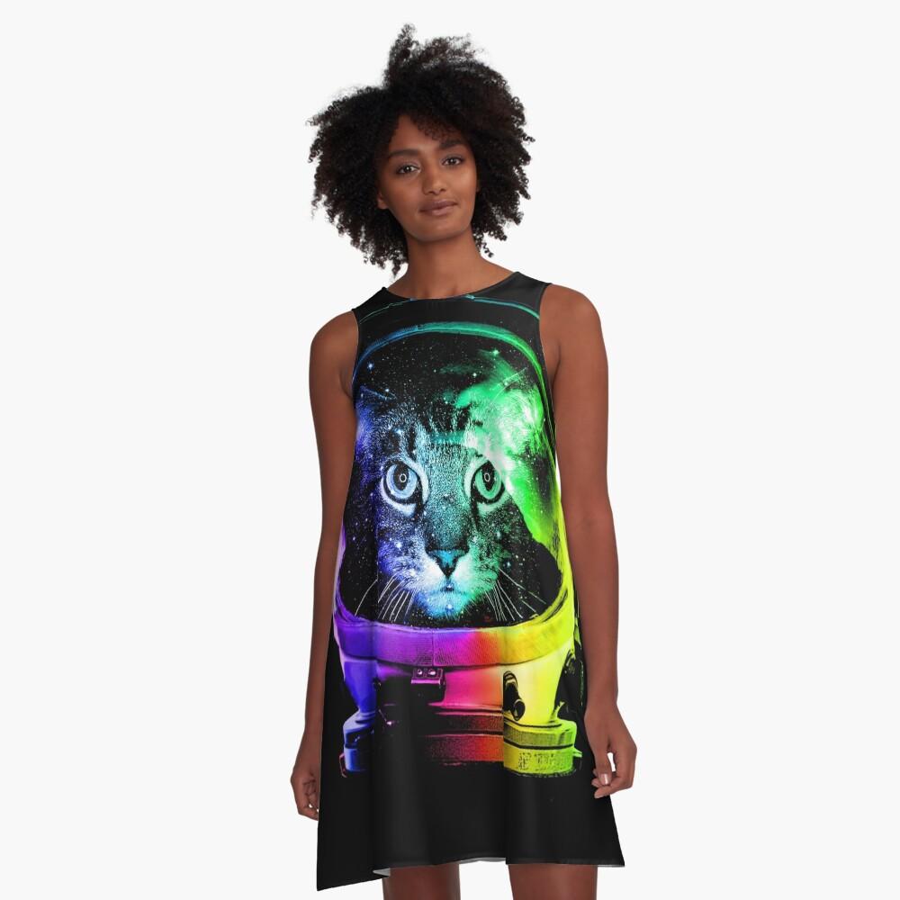 Astronaut Cat A-Line Dress
