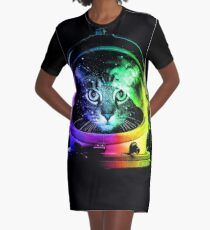 Astronaut Cat Graphic T-Shirt Dress