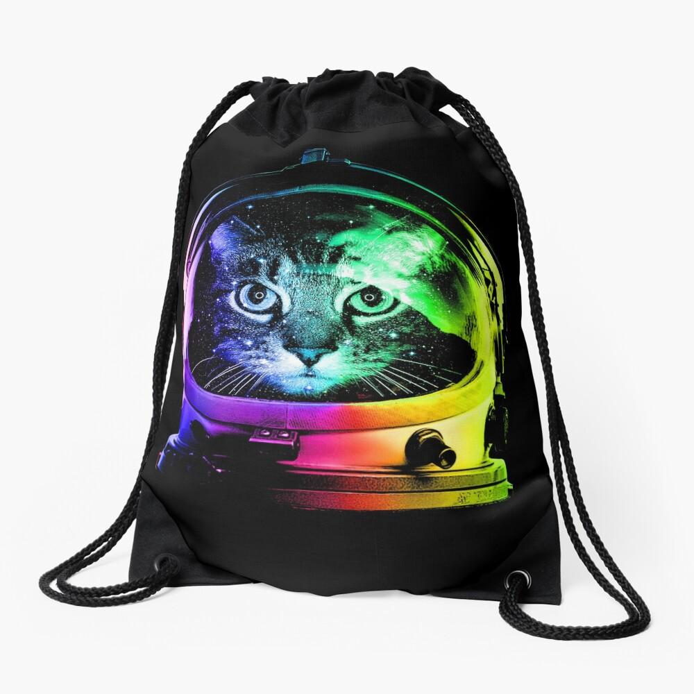 Astronaut Cat Drawstring Bag