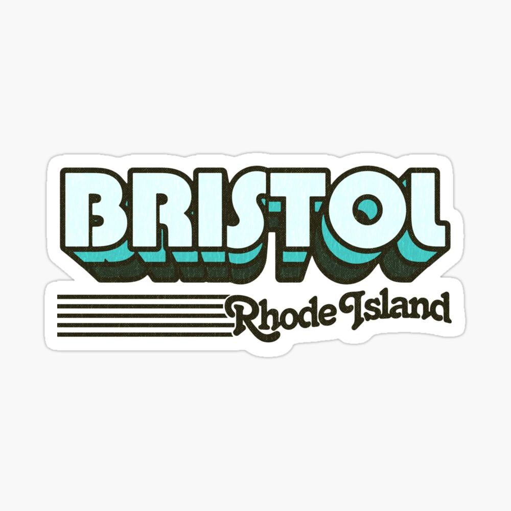 Bristol, Rhode Island   Retro Stripes Sticker