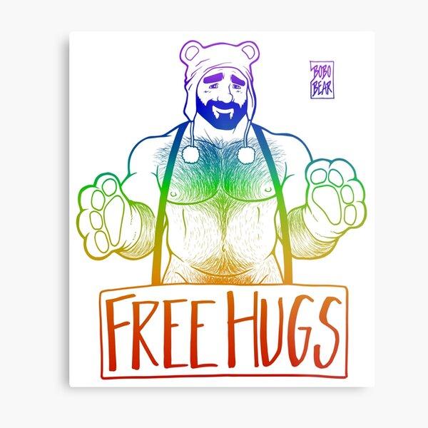 ADAM LIKES HUGS LINEART - GAY PRIDE Metal Print