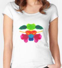 Blüten Tintenklecks Rorschach Tailliertes Rundhals-Shirt