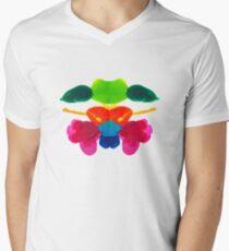 Blüten Tintenklecks Rorschach T-Shirt mit V-Ausschnitt für Männer