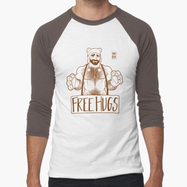 ADAM LIKES HUGS LINEART - BROWN Baseball ¾ Sleeve T-Shirt