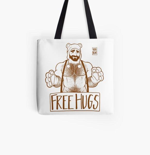 ADAM LIKES HUGS LINEART - BROWN All Over Print Tote Bag