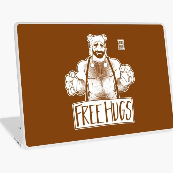ADAM LIKES HUGS LINEART - BROWN Laptop Skin