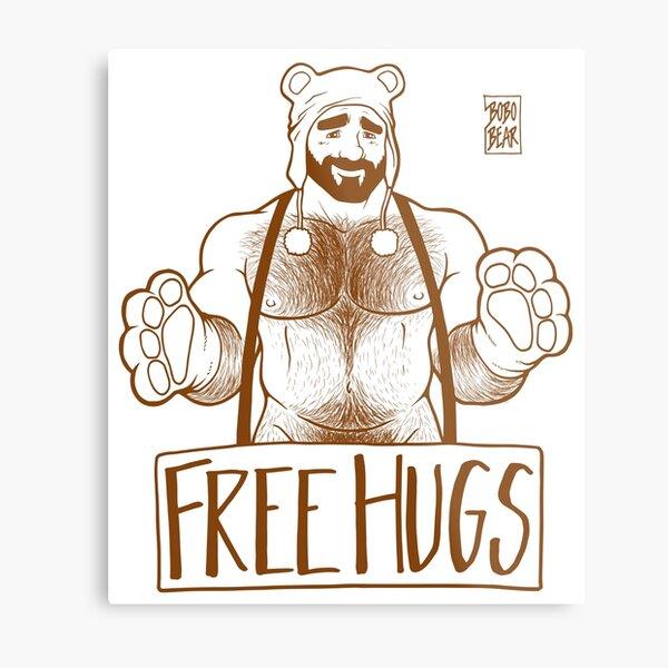ADAM LIKES HUGS LINEART - BROWN Metal Print