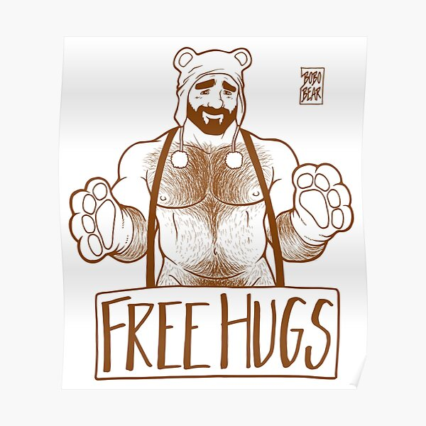 ADAM LIKES HUGS LINEART - BROWN Poster