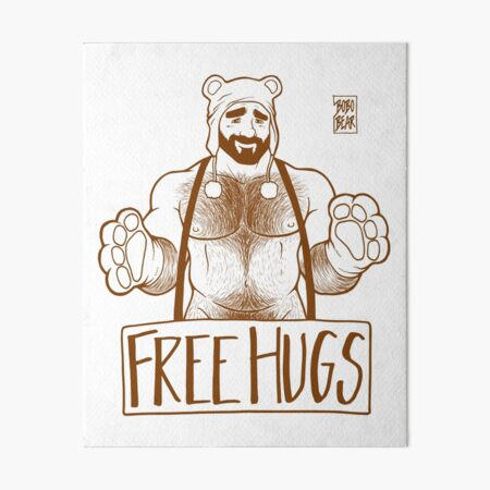 ADAM LIKES HUGS LINEART - BROWN Art Board Print